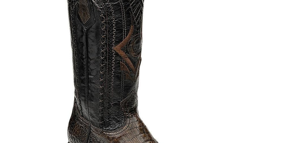 Cuadra Men's Exotic Caiman European Toe Boots - Mocha