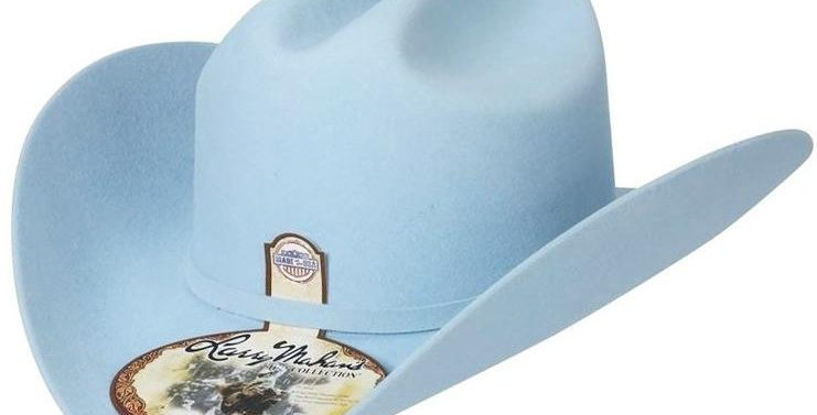 6x Larry Mahan Real Fur Felt Cowboy Hat Baby Blue