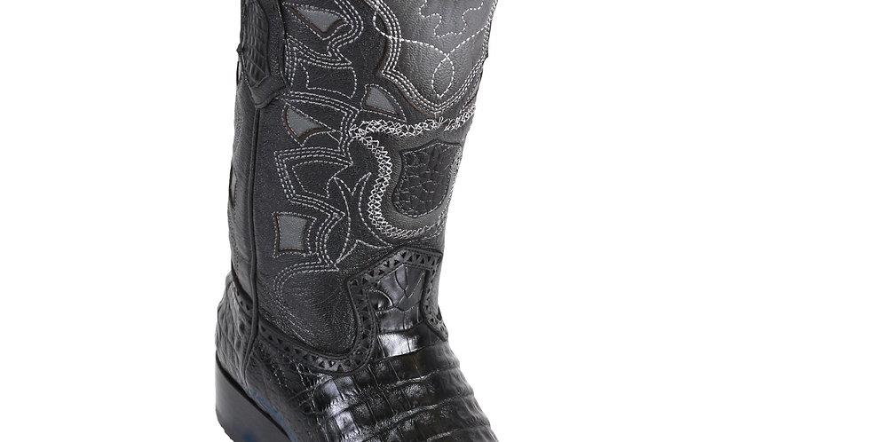 Los Altos Men's Caiman Belly Black European Toe Cowboy Boots