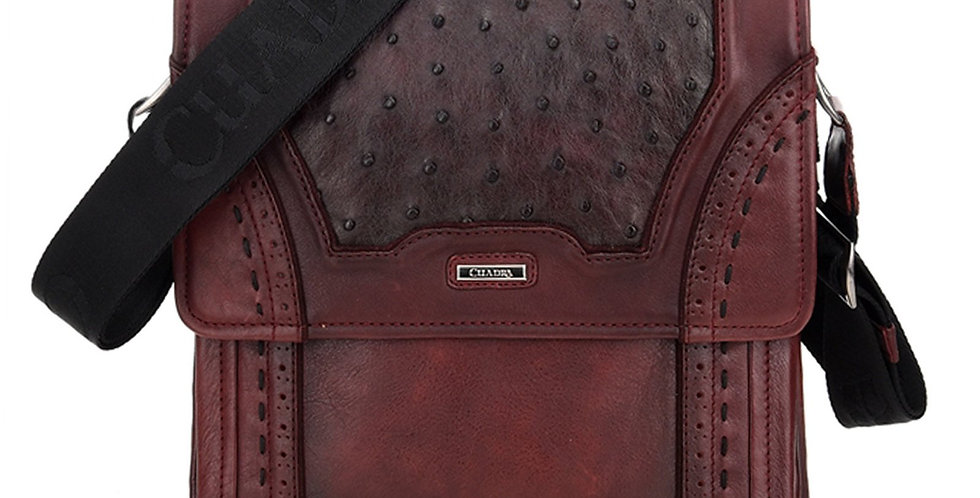 Cuadra Porto Vino Ostrich Messenger Bag