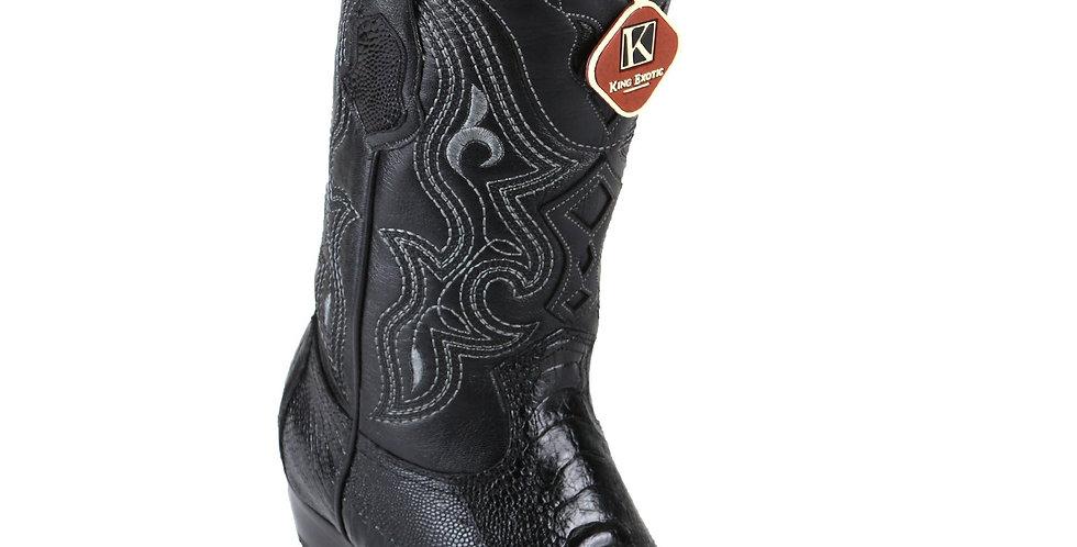King Exotic Men's Ostrich Leg Black Cowboy Boots - H79 Dubai Toe