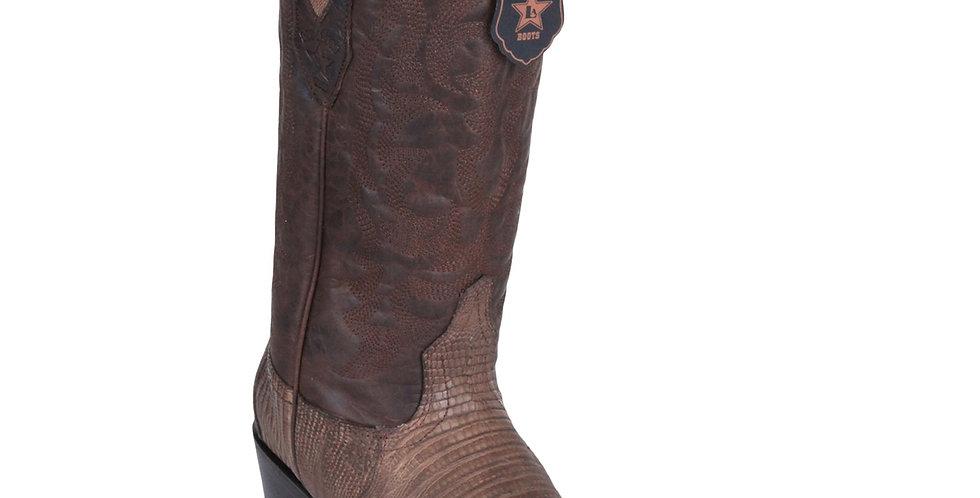 Los Altos Lizard Teju R-Toe Greasy Finish Brown Cowboy Boots