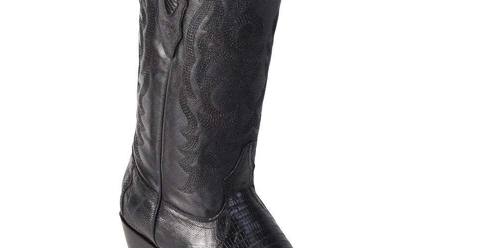 Los Altos Lizard Teju R-Toe Black Cowboy Boots