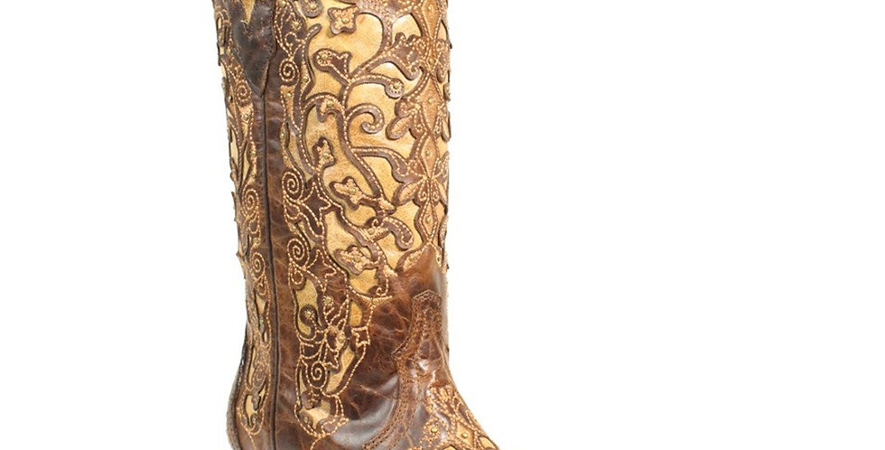 Corral Women's Brown Inlay Embroidery Western Boot