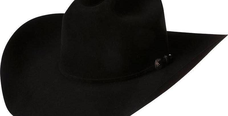 """American 200x Black 4-1/4"""" Brim Felt Cowboy Hat"""