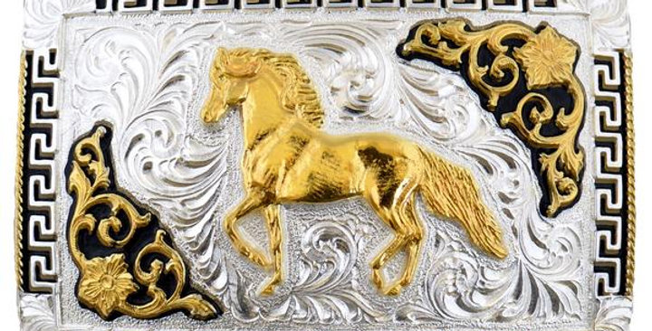 METAL BUCKLE FIGURE HORSES AND FLOWERS WD020
