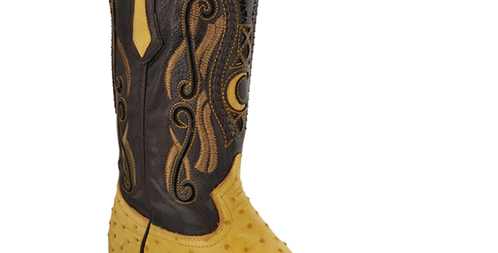 Cuadra Men's Ostrich Yellow Chihuahua Pointed Toe Boots - Yellow