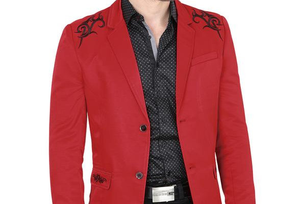 Modern Regular Fit Cut Fabric Whit Design Blazer - Red