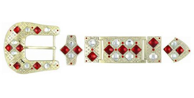 SILVER HARDWARE WITH RED STONE BK3412