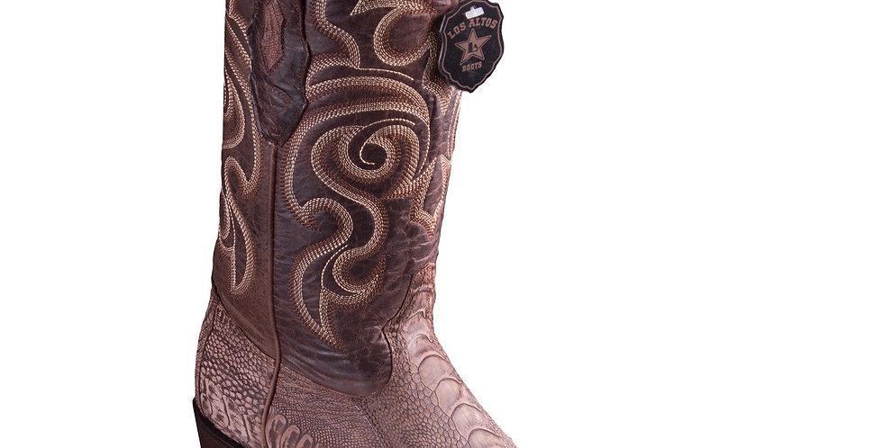 Los Altos Sanded Brown Ostrich Leg R-Toe Western Boots