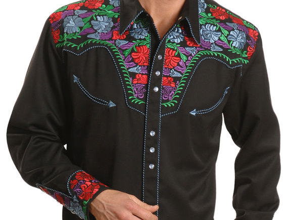 Scully Vibrant Floral Embroidered Retro Western Shirt - Big & Tall