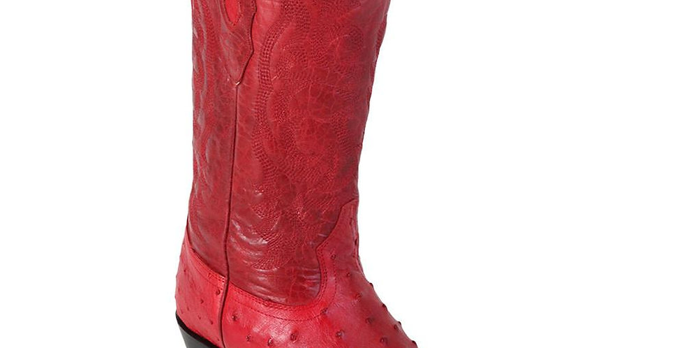 Los Altos Red Ostrich Cowboy Boot J Toe
