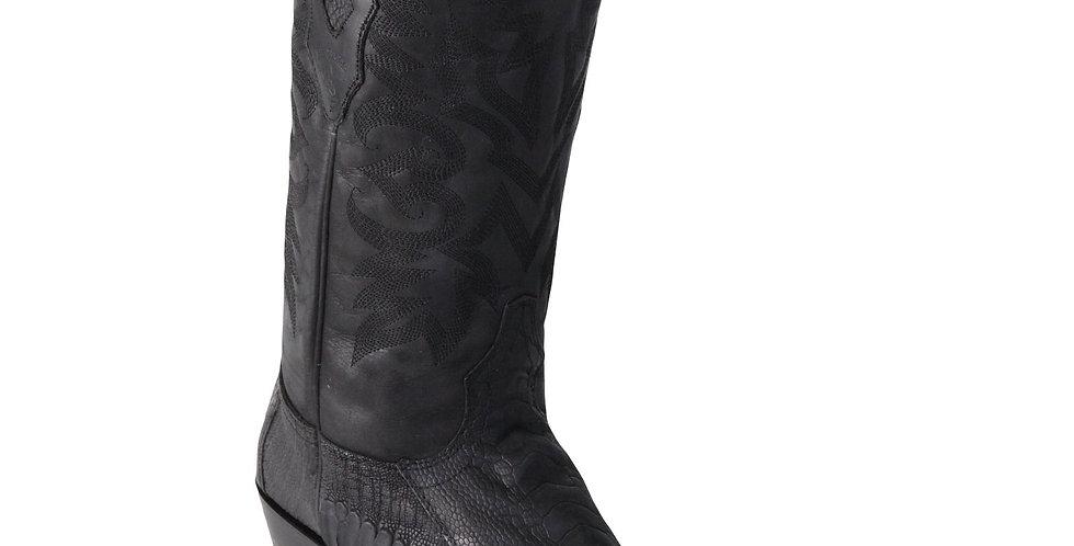Men's Black Ostrich Leg Square 7-Toe Cowboy Boots - Greasy Finish