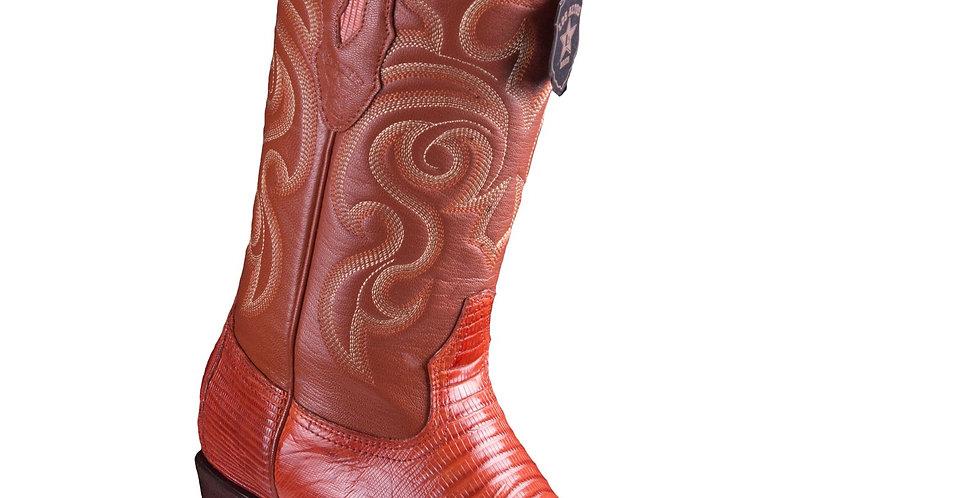 Los Altos Cognac Lizard Teju R-Toe Cowboy Boots