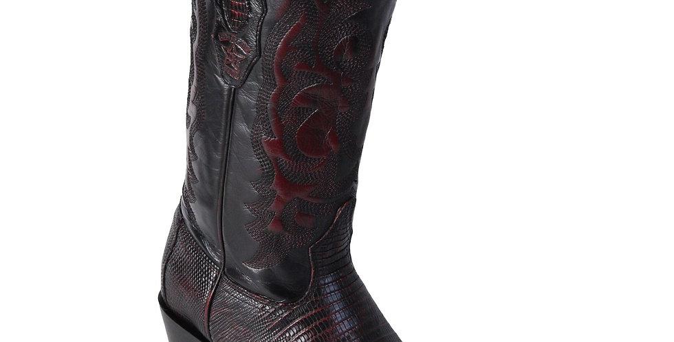 Los Altos Lizard Teju R-Toe Black Cherry Cowboy Boots