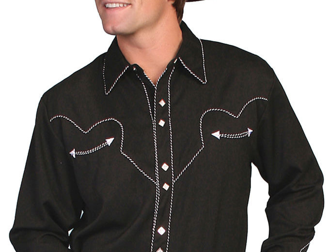Scully Men's Black Long Sleeve Western Shirt
