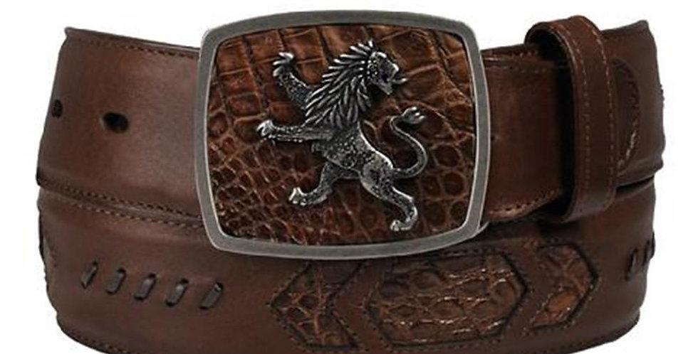 Cuadra Men's Lion Buckle Caiman Belly Belts