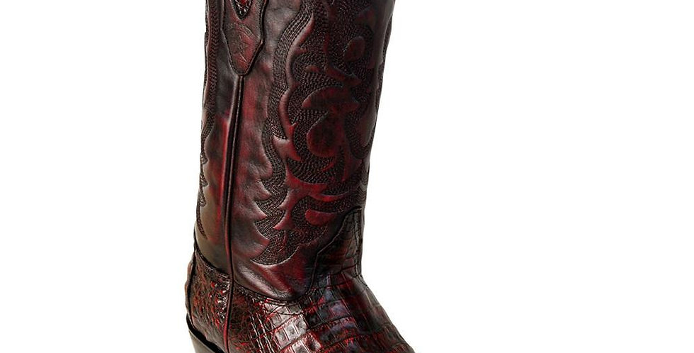 Los Altos Black Cherry Caiman Snip Toe Western Boot