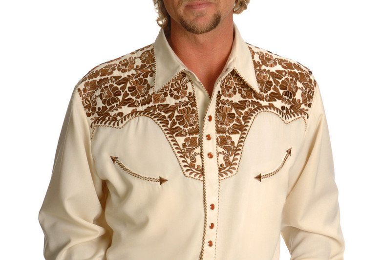 Scully Men's Tan Embroidered Gunfighter Shirt