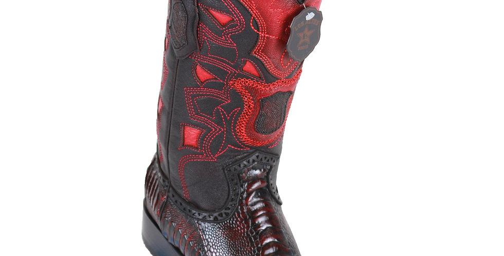 Los Altos Men's Ostrich Leg Black Cherry European Toe Cowboy Boots