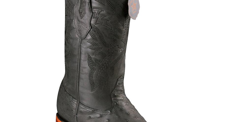 Los Altos Men's Ostrich Wide Square Boots - Black Greasy Finish