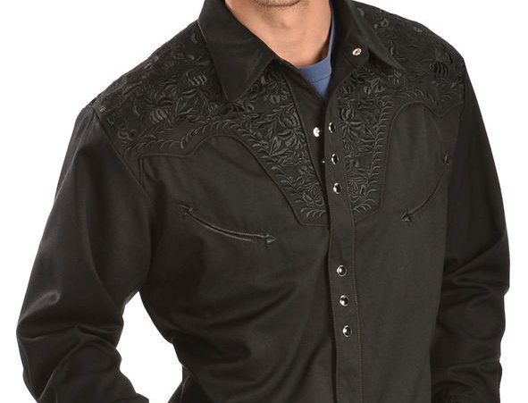 Scully Floral Embroidery Black Retro Western Shirt