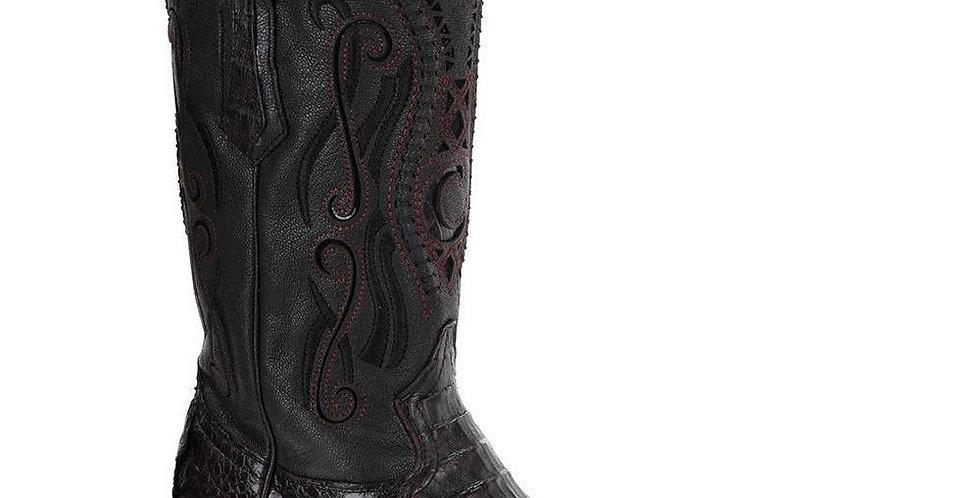 Cuadra Men's Crocodile Horn Back Black Cherry Pointed Toe Boots