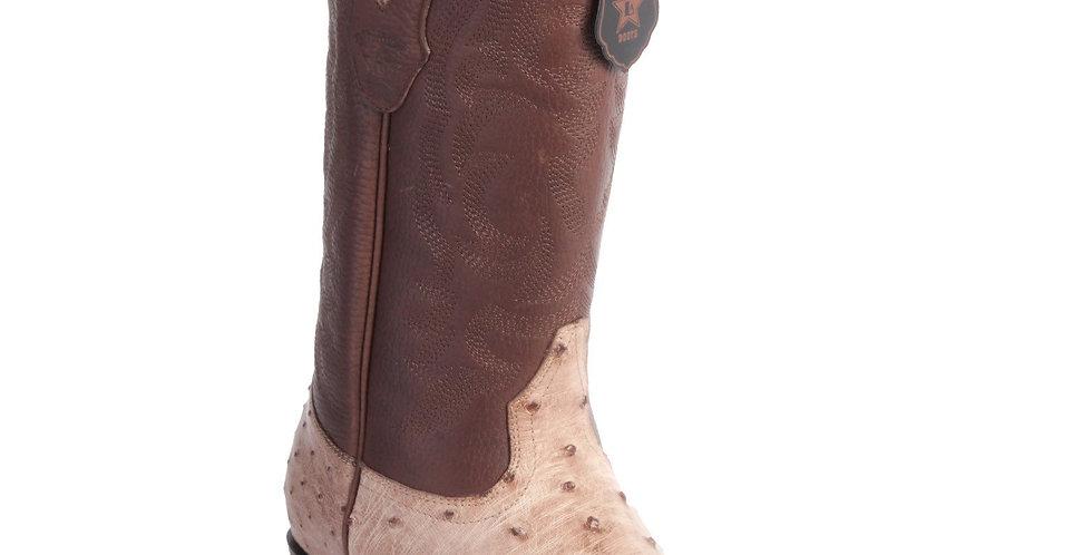 Los Altos Men's Moka Ostrich Snip Toe Western Boots
