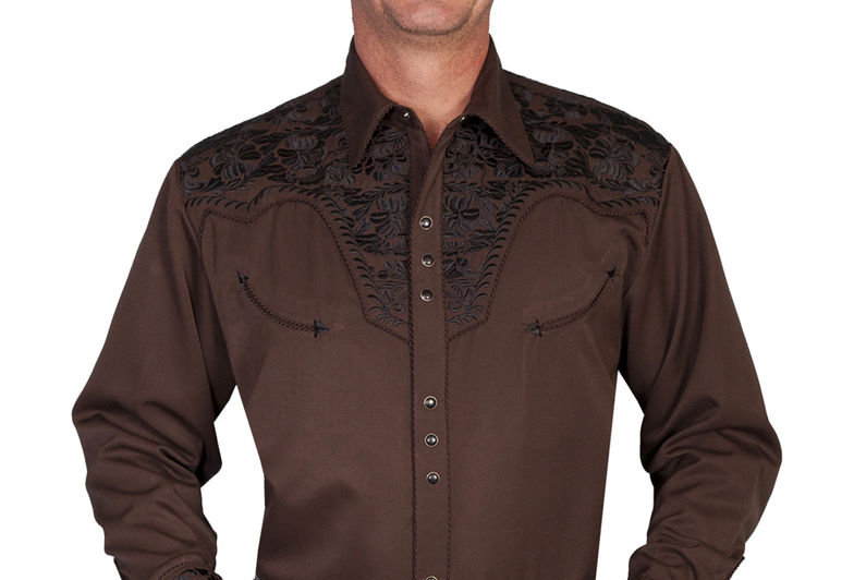 Scully Men's Black Embroidered Gunfighter Shirt - Big & Tall