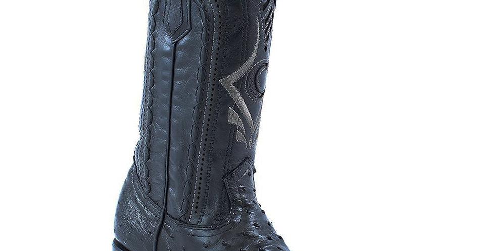 Cuadra Men's European Style Black Ostrich Boots