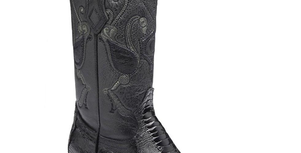 Cuadra Mens Ostrich Leg Cowboy Boots Semi Oval - Black