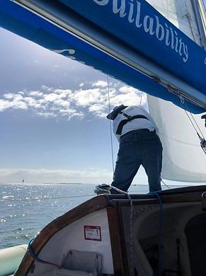 Adjusting sails