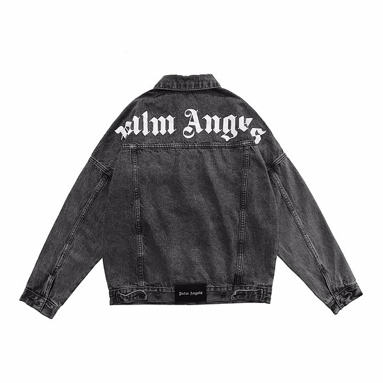 Palm Angels Over Logo Denim Jacket Black
