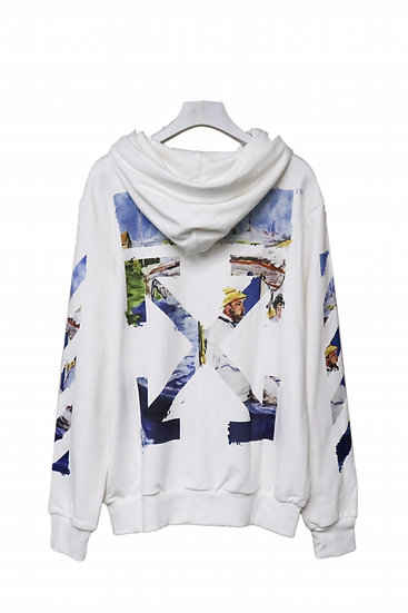 OFF-WHITE Monet Oil Paint Zip Hoodie White