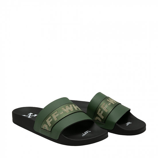 OFF-WHITE Industrial Logo Print Slides in Army Green