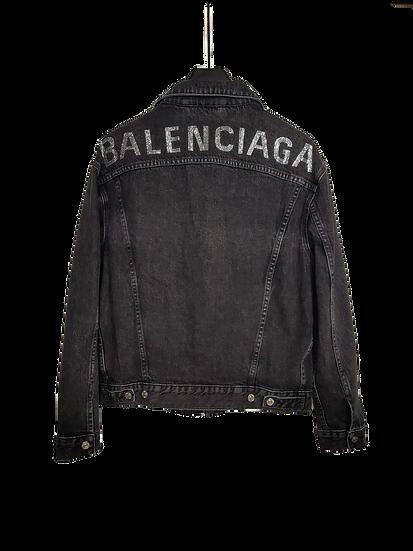 Balenciaga Bling Logo Black Denim Jacket