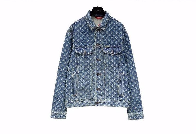 Supreme Hole Punch Denim Trucker Jacket Blue