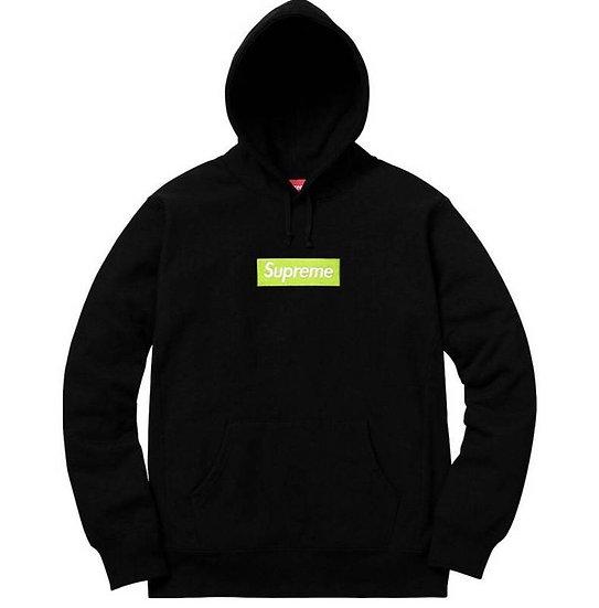 Supreme Classic Box Logo Hoodie Black Lime