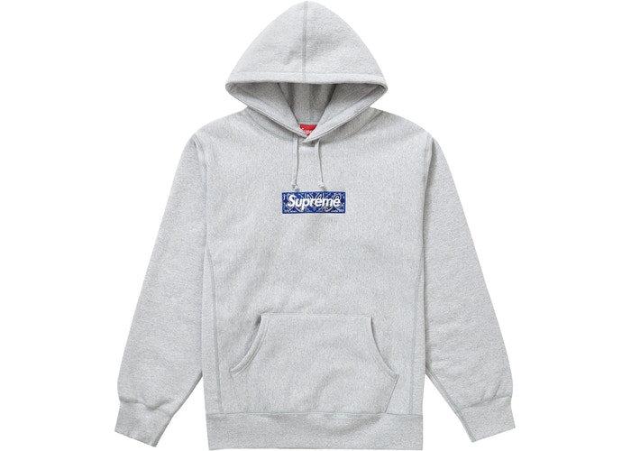 Supreme Bandana Box Logo Hooded Sweatshirt Heather Grey