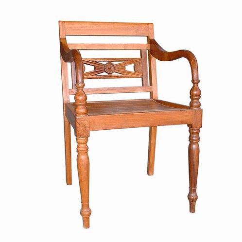 Cadeira c/ braços em madeira Teca  /  50x47x85