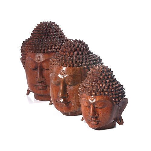 Cabeça de Buda em madeira