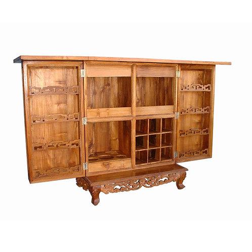 Móvel bar c/ 2 portas em madeira Teca