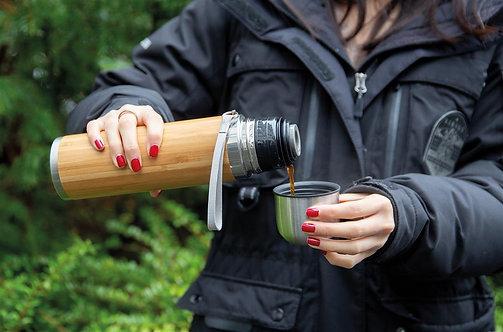 Termo al vacío de viaje de bambú