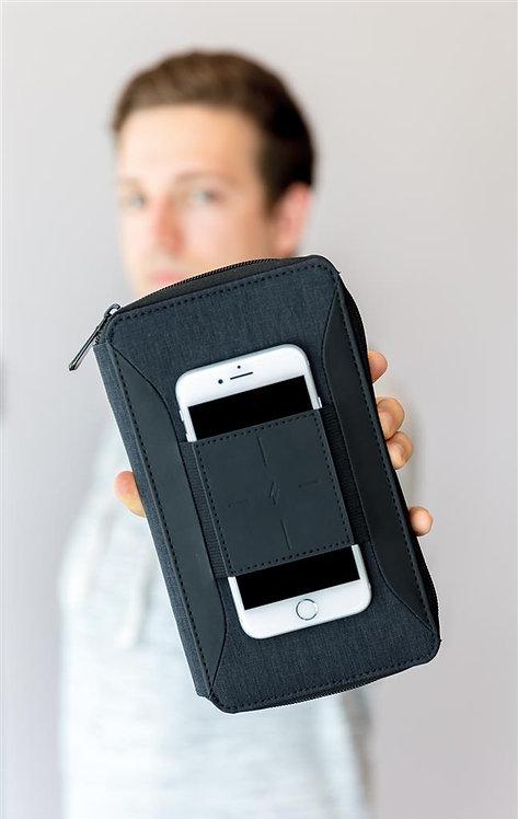 Moderna billetera de viaje con carga inalámbrica