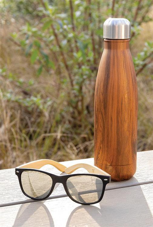 Botella aislante al vacío con estampado de madera marron