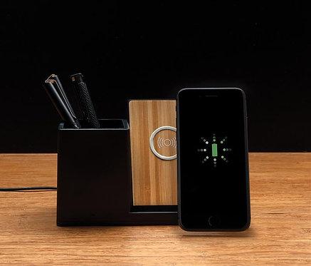 Cargador inalámbrico 5W con soporte bolígrafos negro