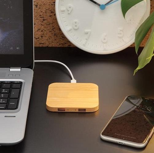 Cargador inalámbrico 5W de Bambú con puertos USB