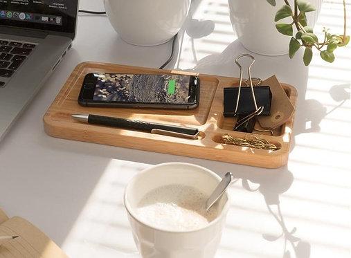 Organizador escritorio inalámbrico 5W de bambú