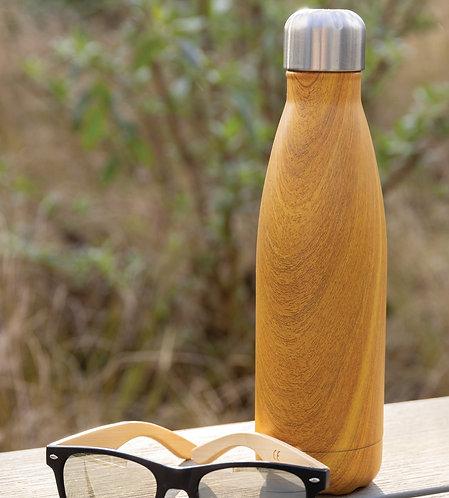 Botella aislante al vacío con estampado de madera amarillo