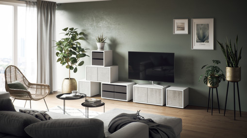 Das Stapelregal «frame» als TV-Möbel.